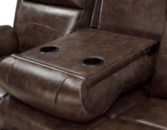 Reclining Leather Sofa With Cup Holders