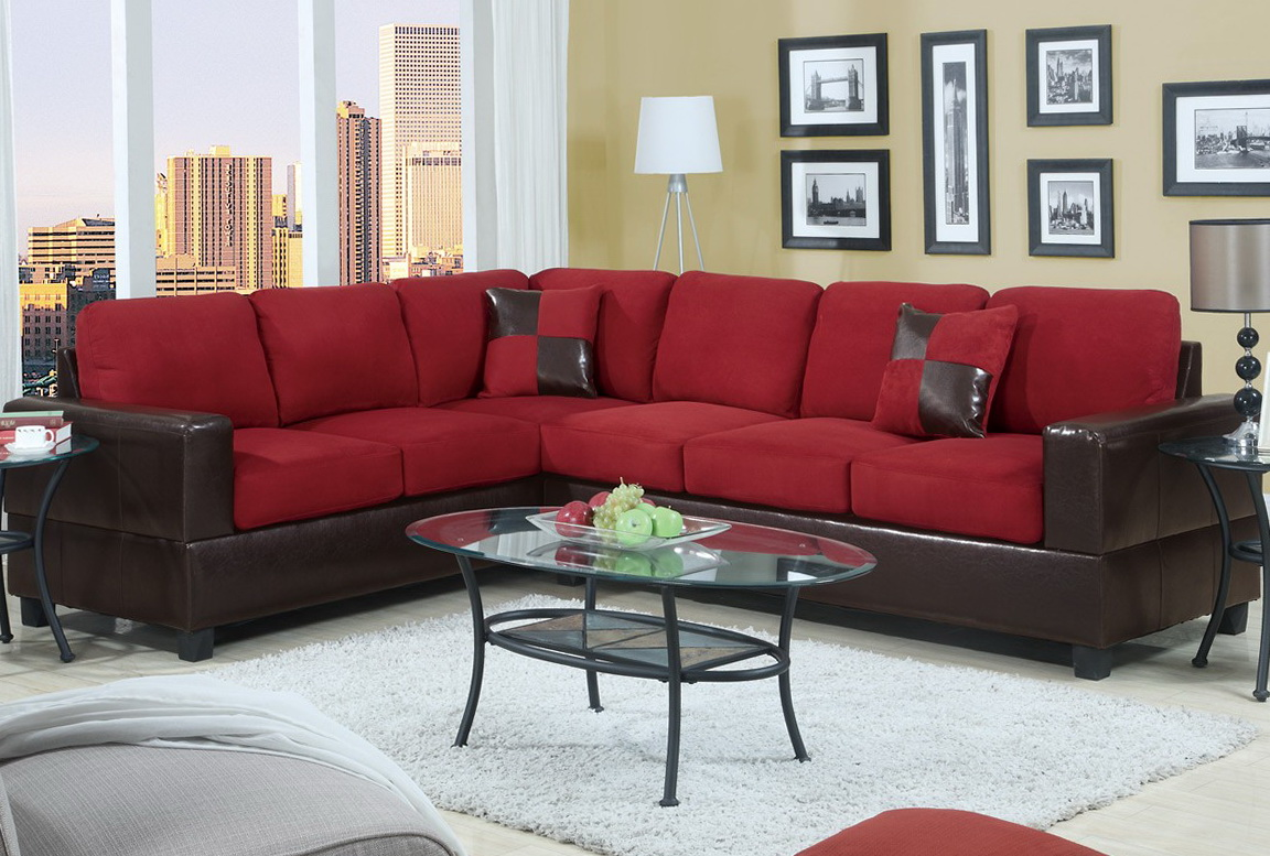 Red Microfiber Sectional Sofa