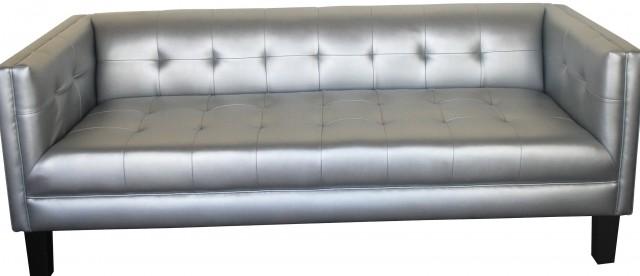 Silver Grey Leather Sofa