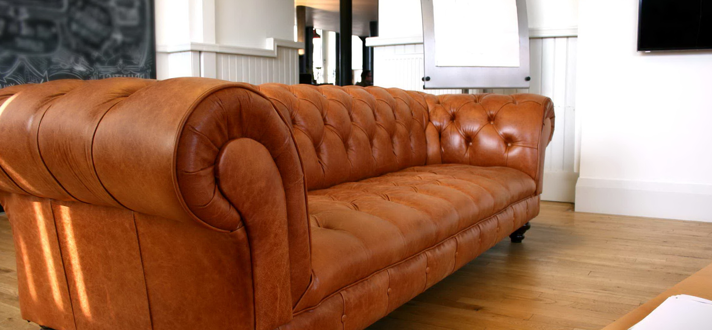 Tan Leather Chesterfield Sofa