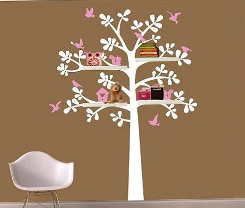 Tree Wall Art With Shelves