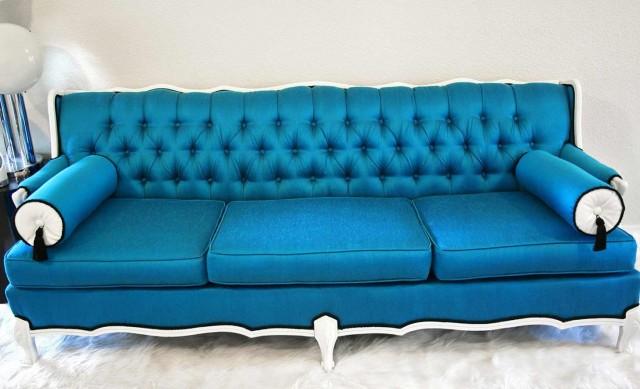 Tufted Blue Velvet Sofa