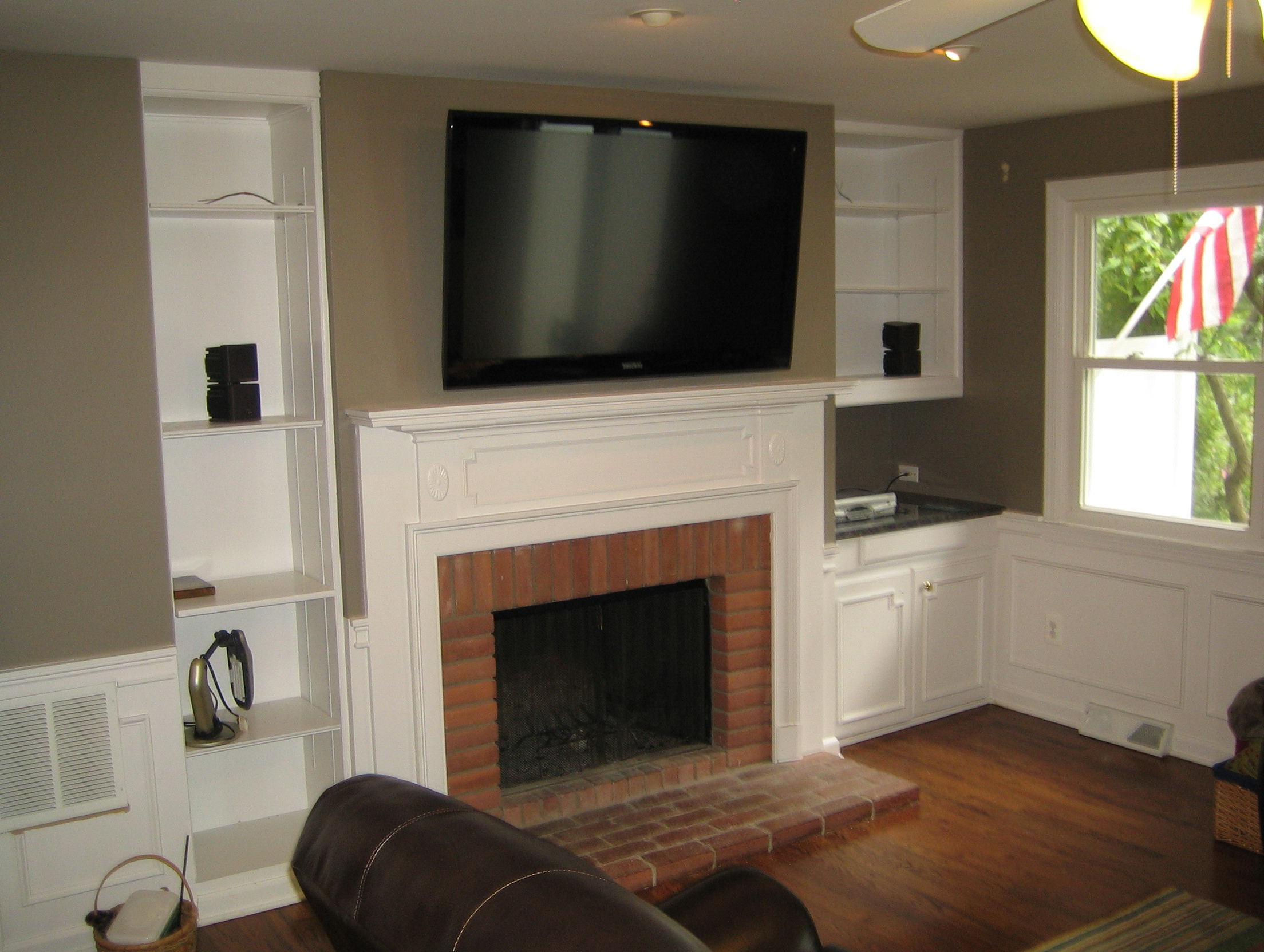 Tv Wall Mount With Shelf Over Fireplace