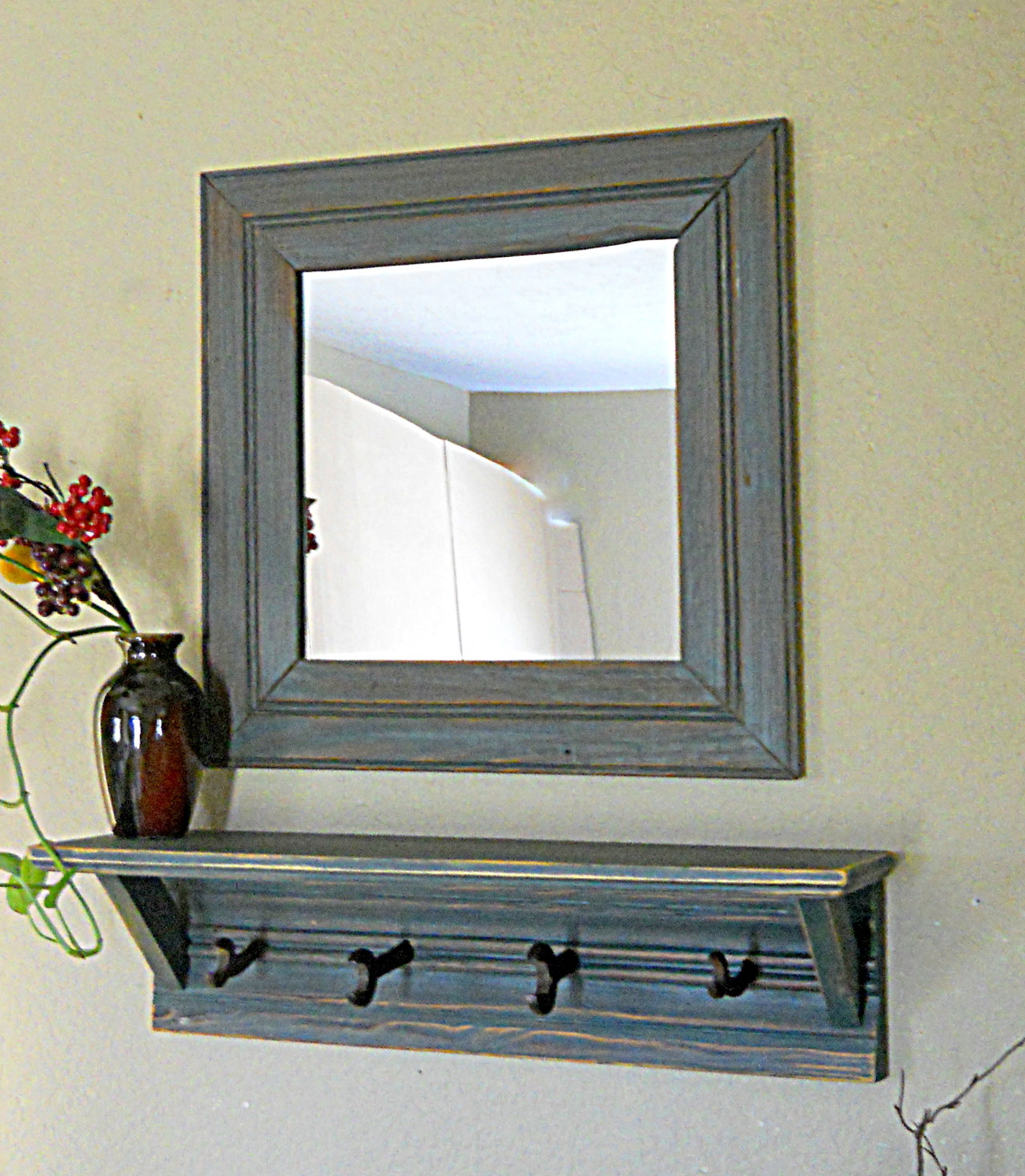 Wall Coat Rack With Shelf And Mirror