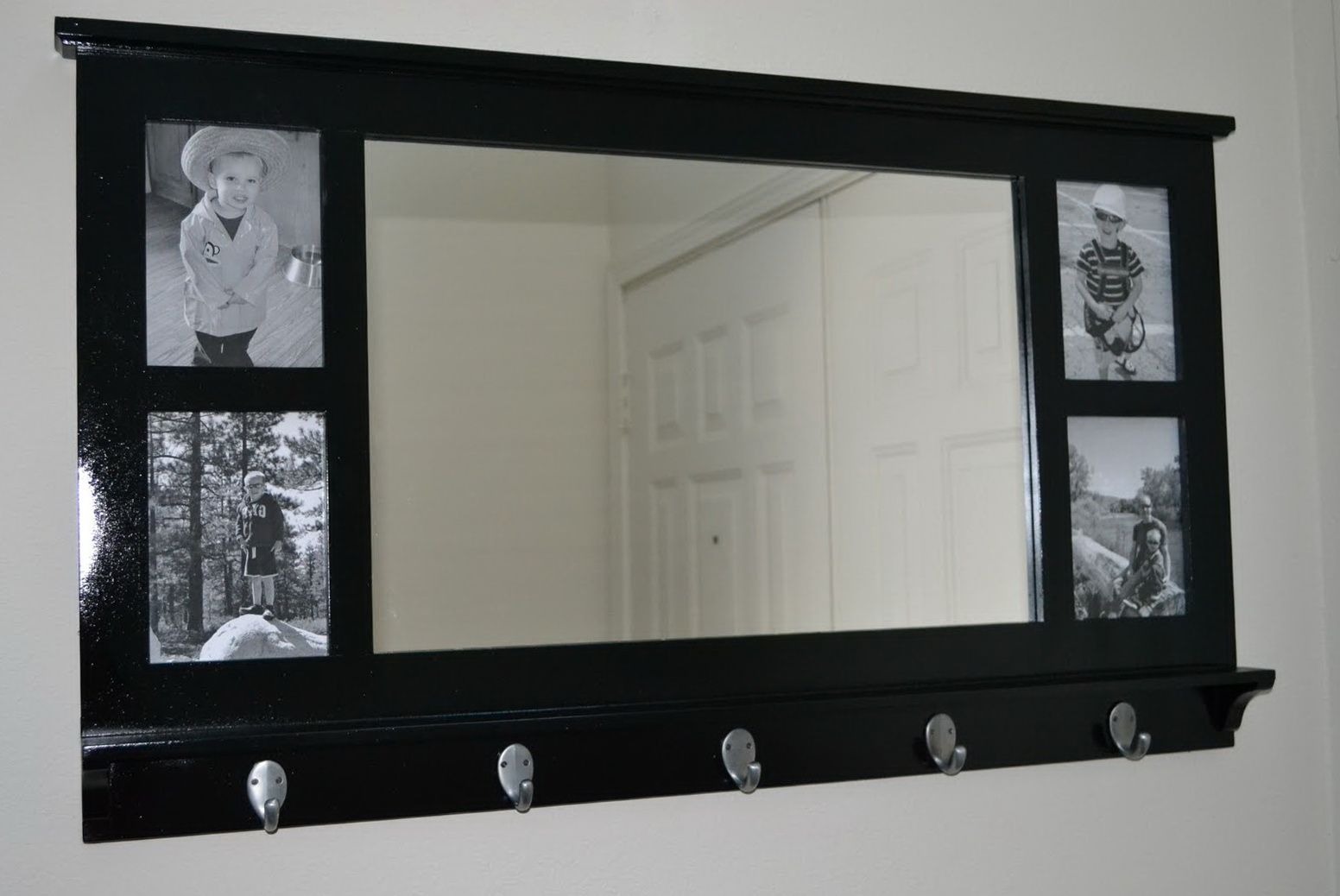 Wall Shelf With Hooks And Mirror
