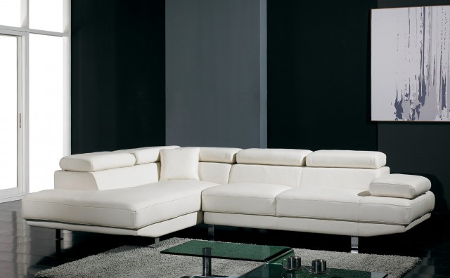 White Contemporary Leather Sofa