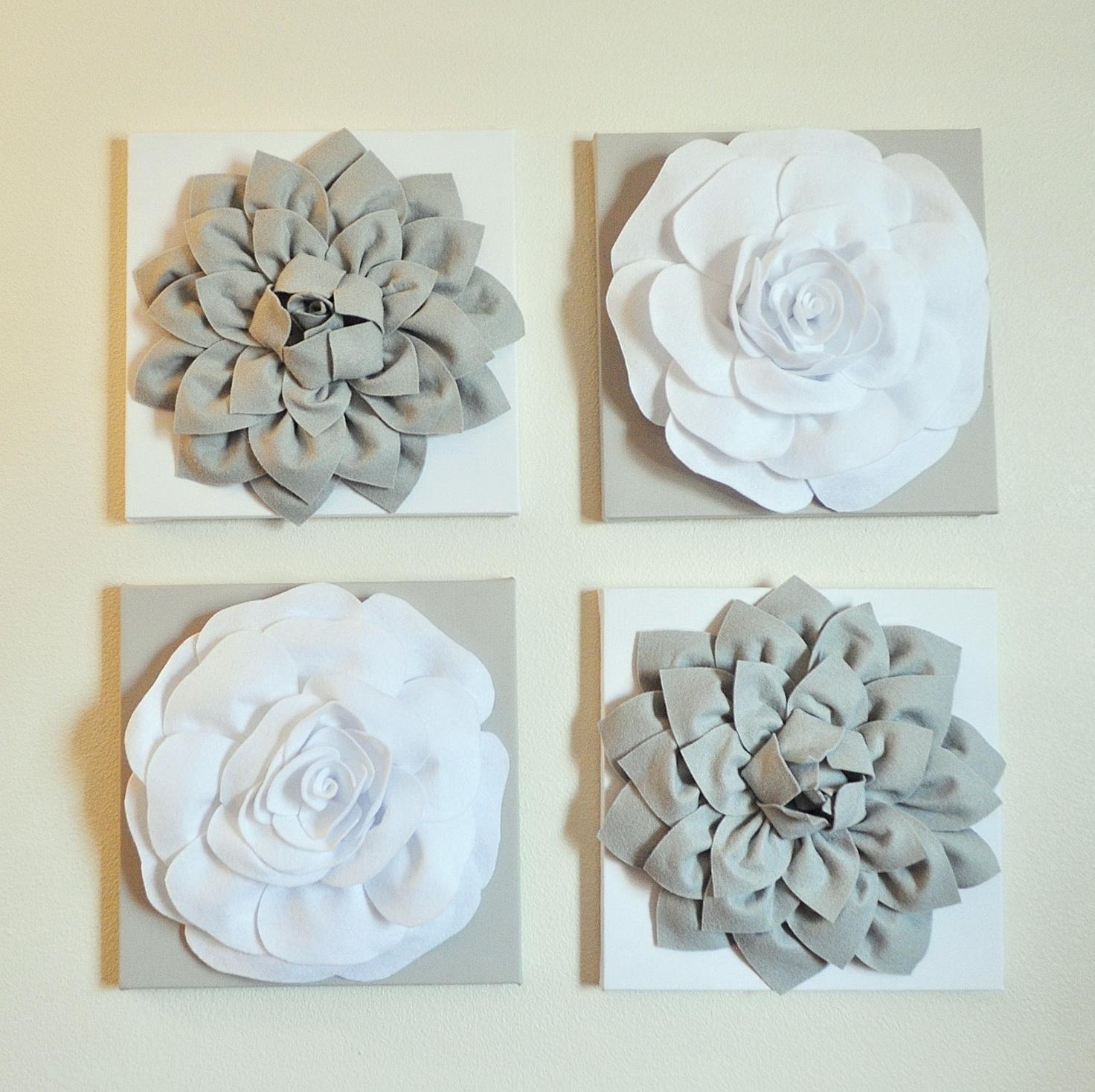 White Metal Flower Wall Art
