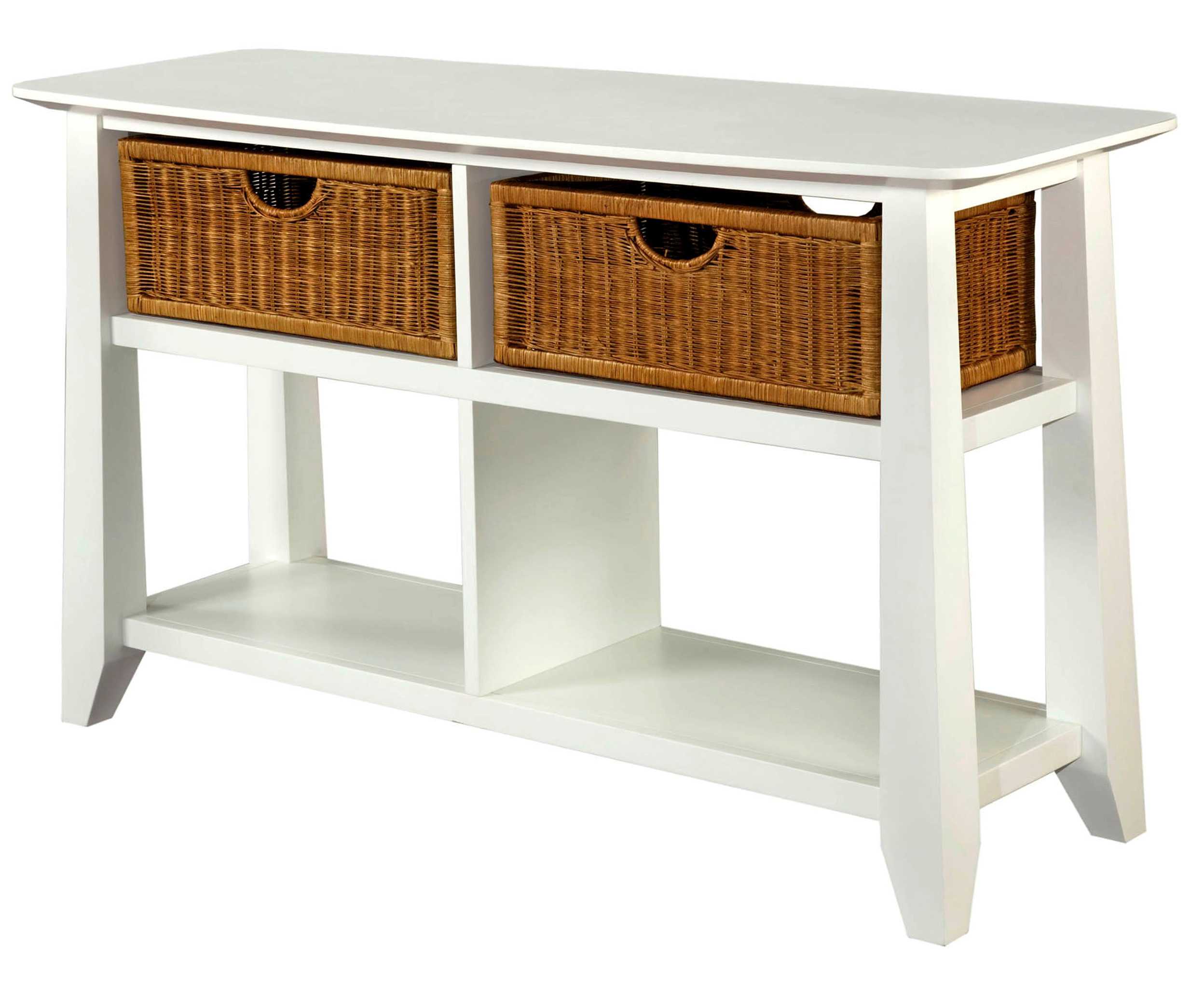 White Sofa Table With Baskets
