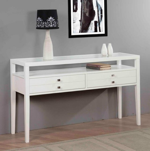 White Sofa Table With Drawers