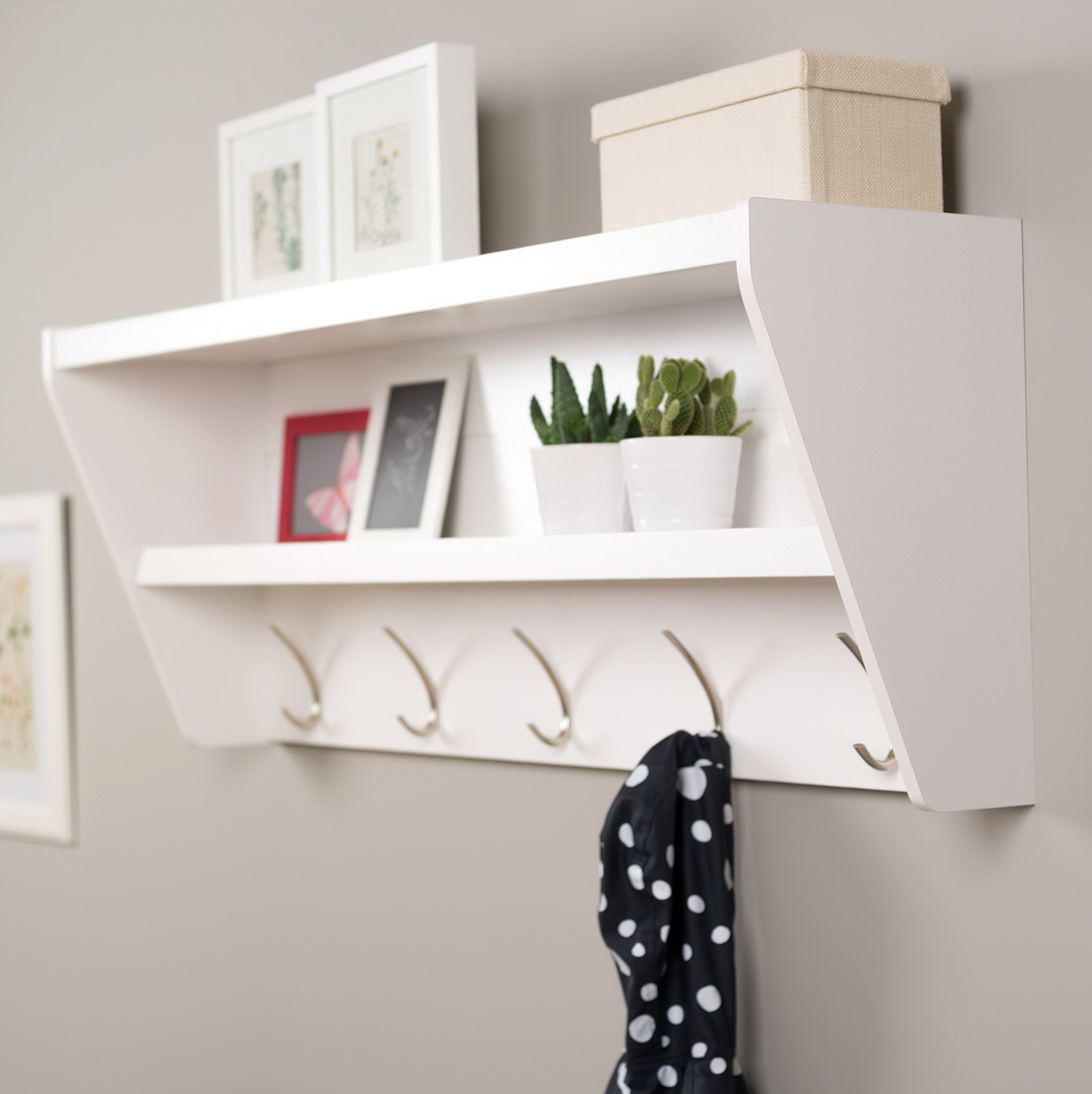 White Wall Mounted Coat Rack With Shelf