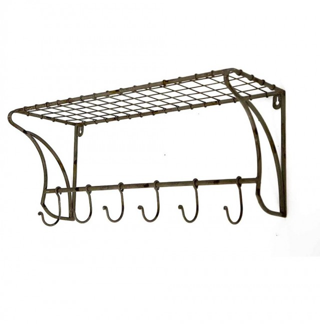 Wire Wall Shelf With Hooks