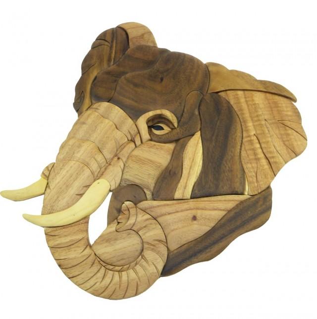 Wooden Elephant Wall Art