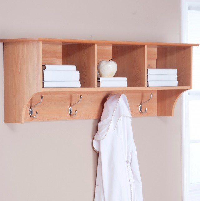 Wooden Wall Mounted Coat Rack With Shelf