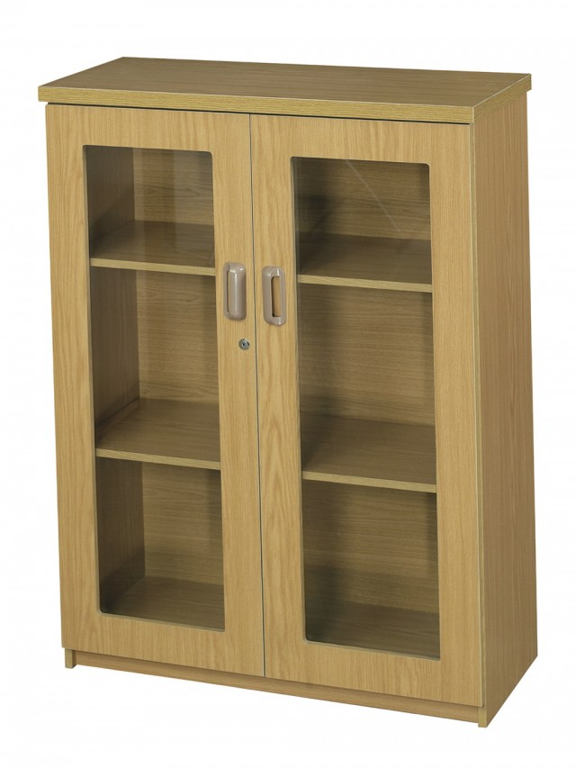 2 Shelf Bookcase With Glass Doors