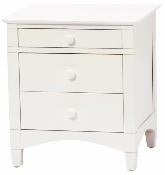 3 Drawer Nightstand White