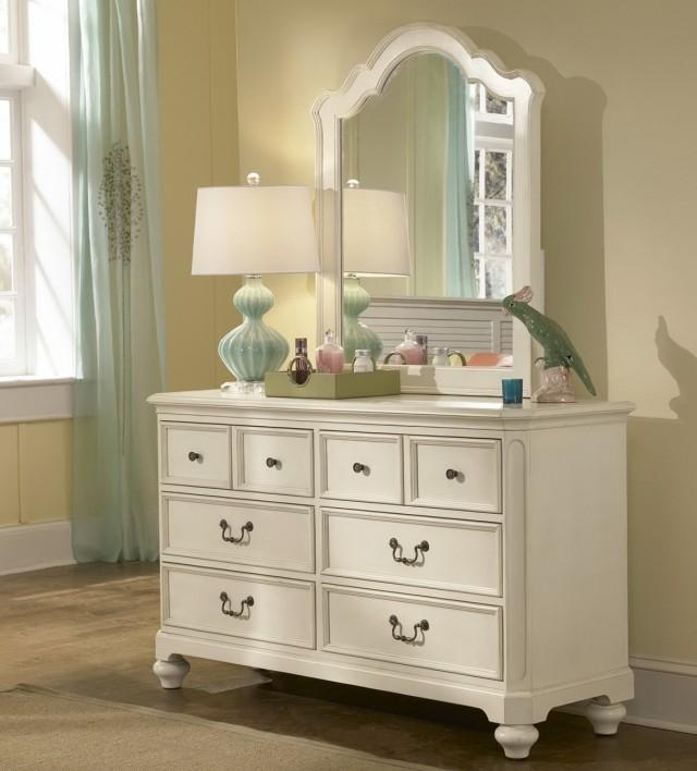 Antique White Dresser With Mirror
