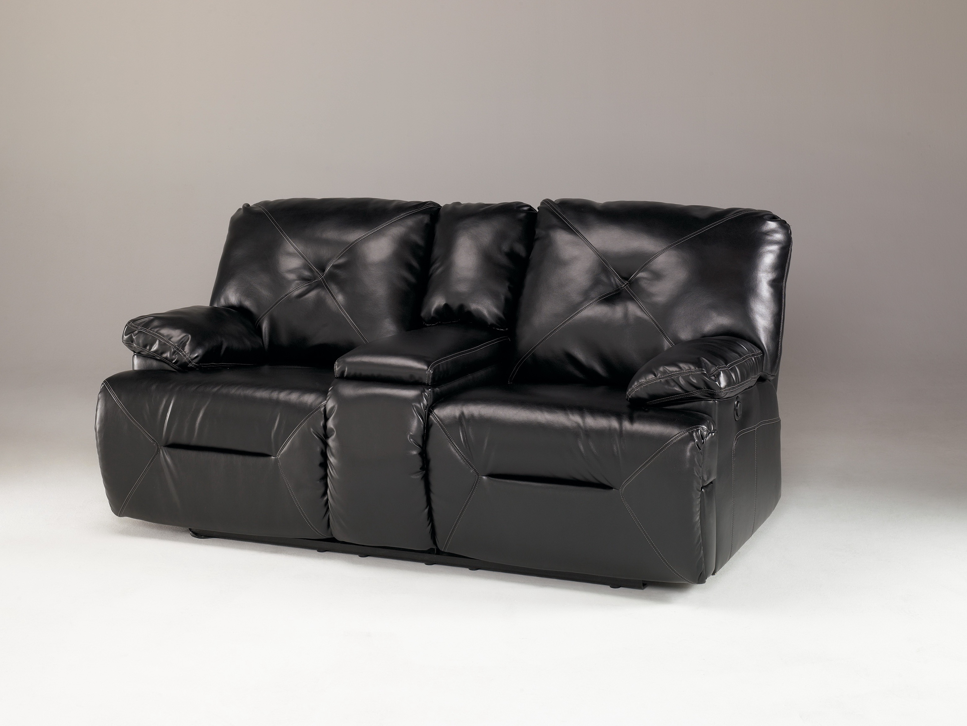 Black Reclining Loveseat With Console
