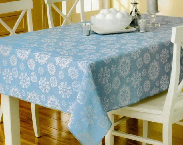 Blue Christmas Table Linens