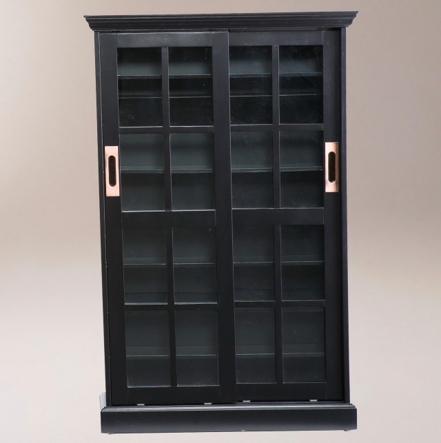 Bookcase With Doors Black