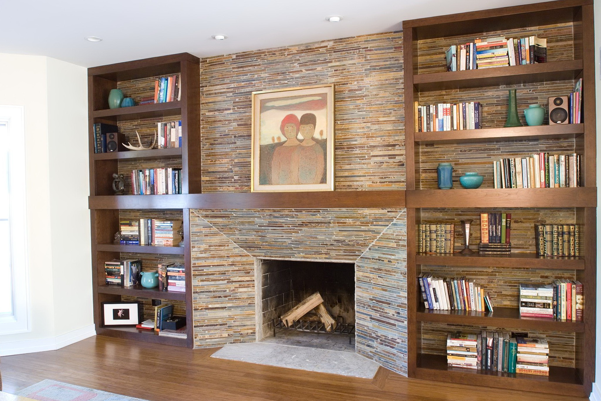 Built In Bookcases Beside Fireplace