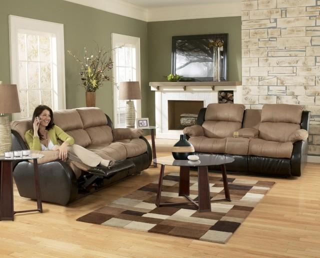 Christina Two Tone Leather Sofa And Loveseat Set