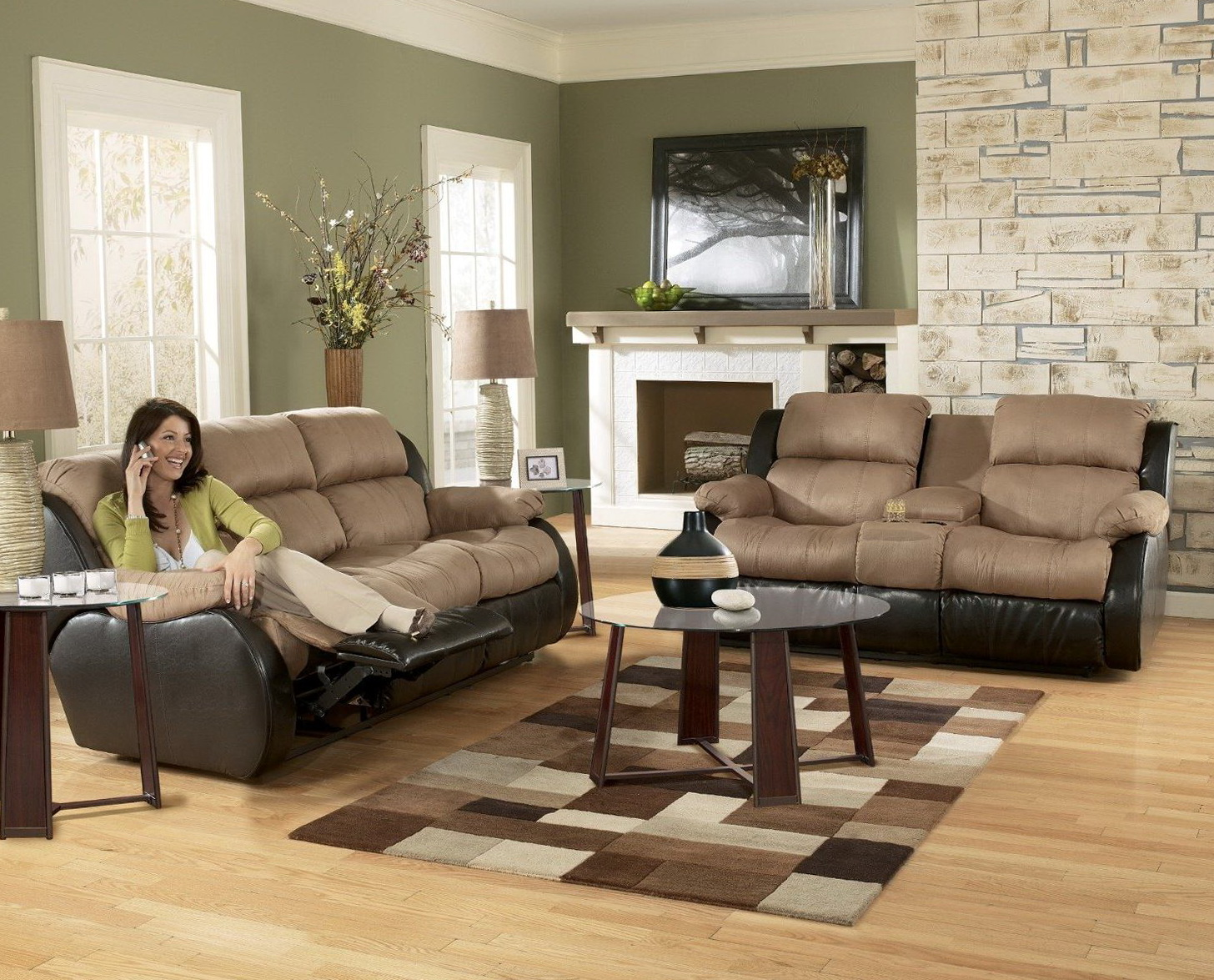 Christina Two Tone Leather Sofa And Loveseat Set
