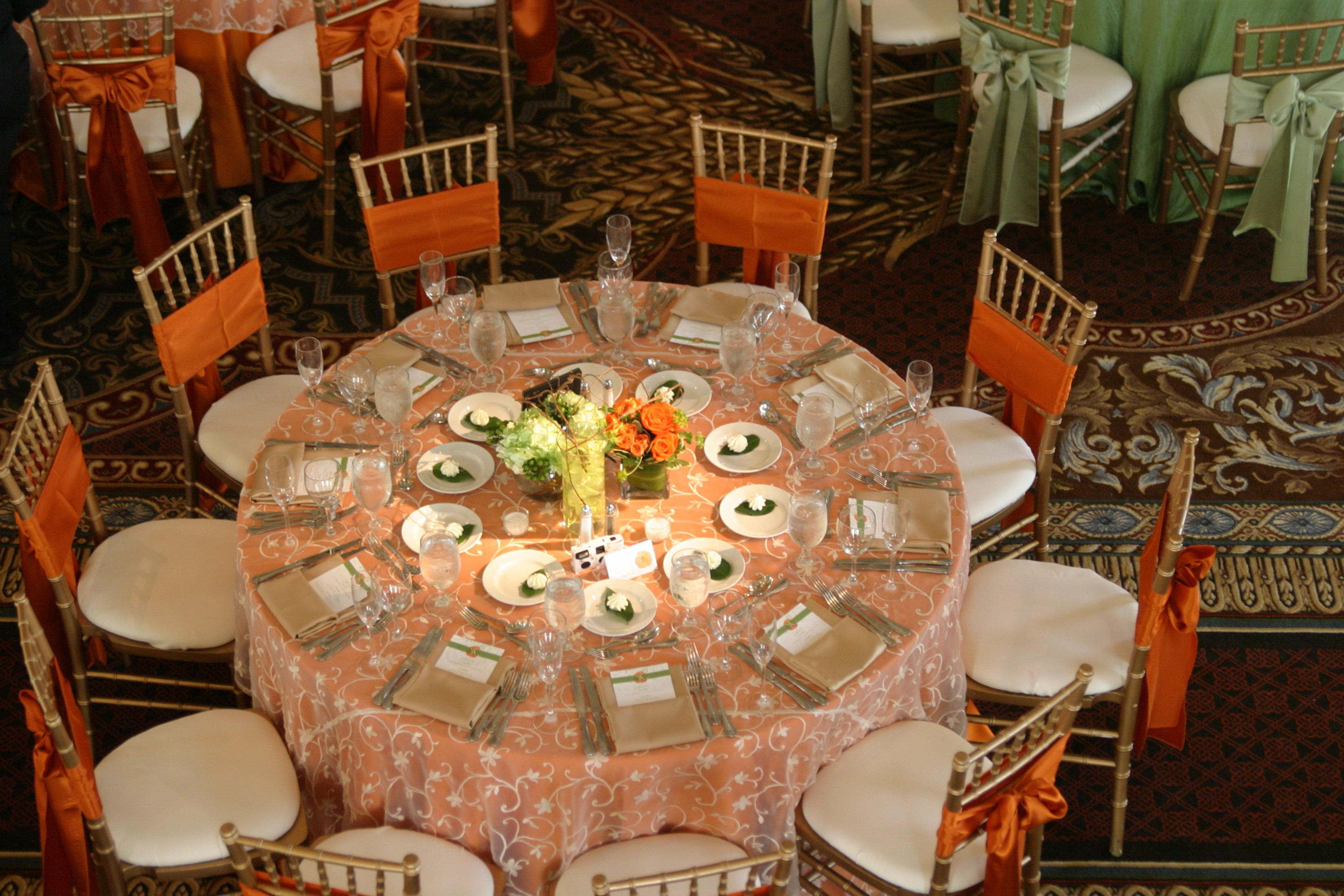 Coral Wedding Table Linens