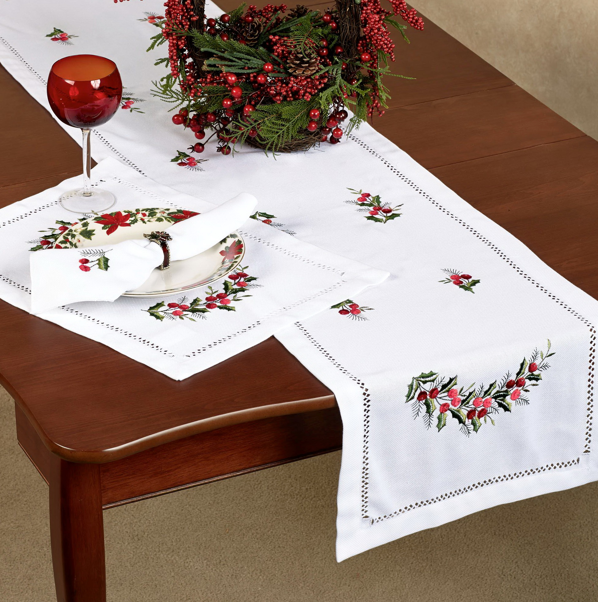 Embroidered Christmas Table Linens