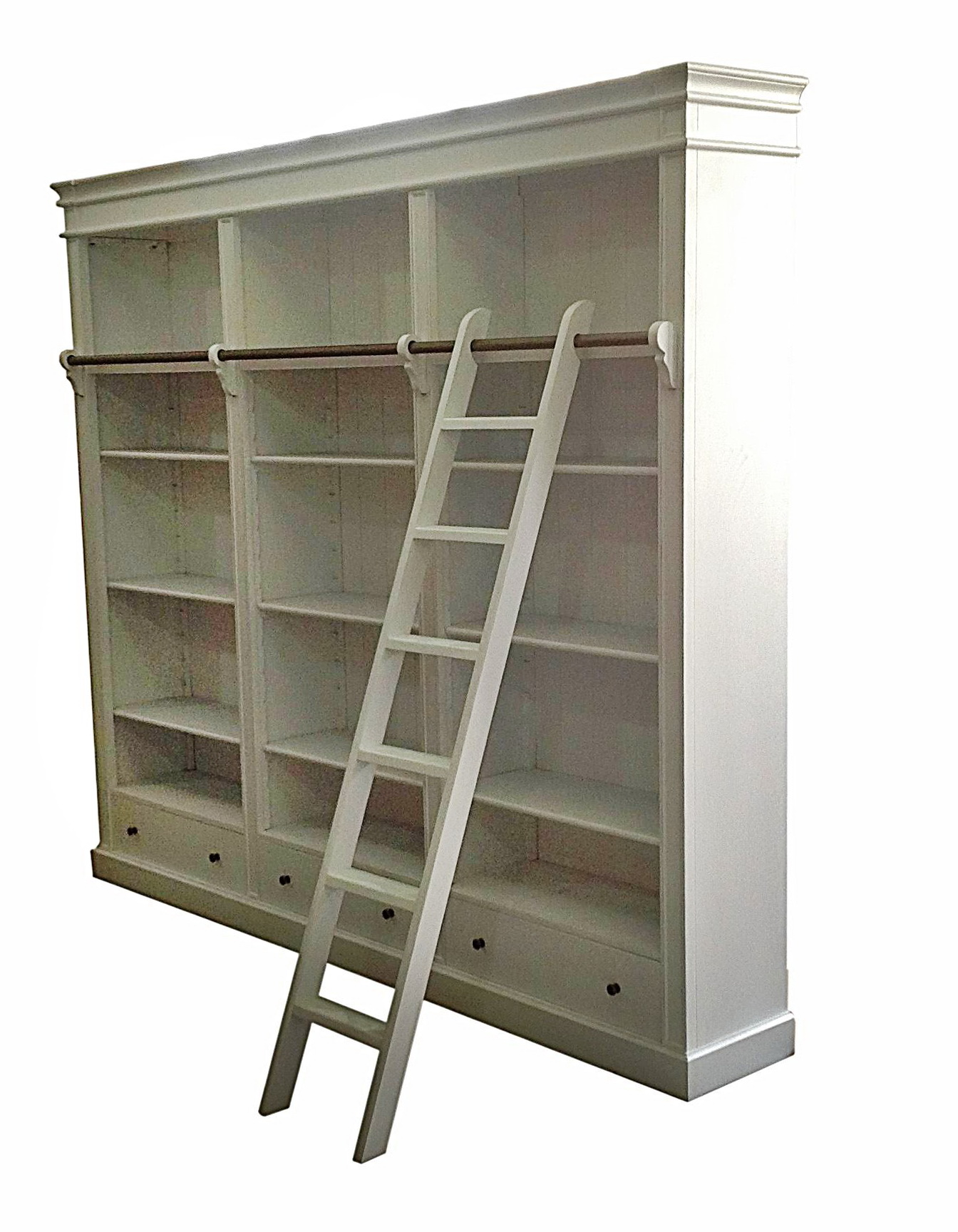 French Provincial Bookcase With Ladder