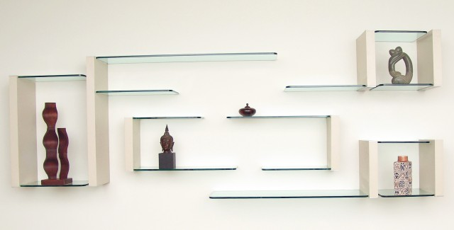 Glass Wall Display Shelves