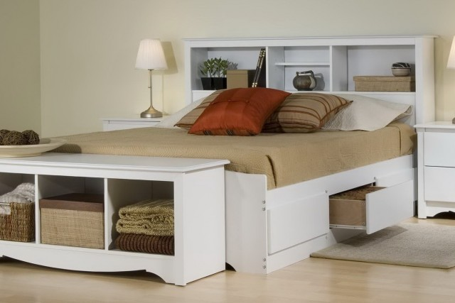 King Bookcase Headboard Storage Bed