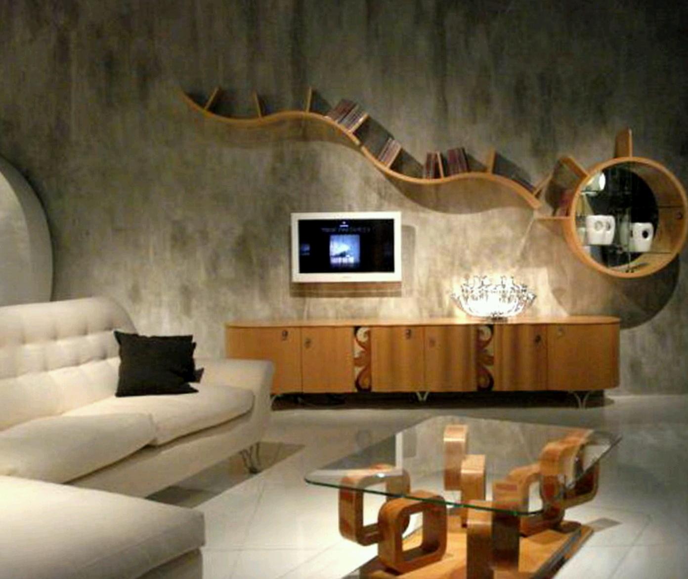 Living Room Shelves On Wall