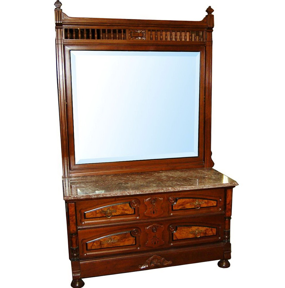 Marble Top Dresser With Mirror