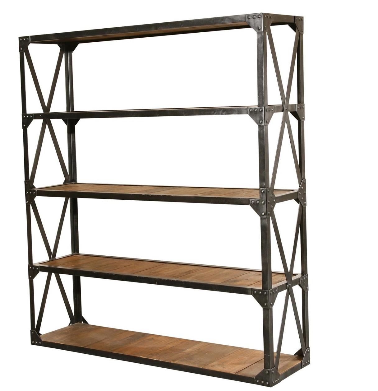 Metal And Wood Bookcase