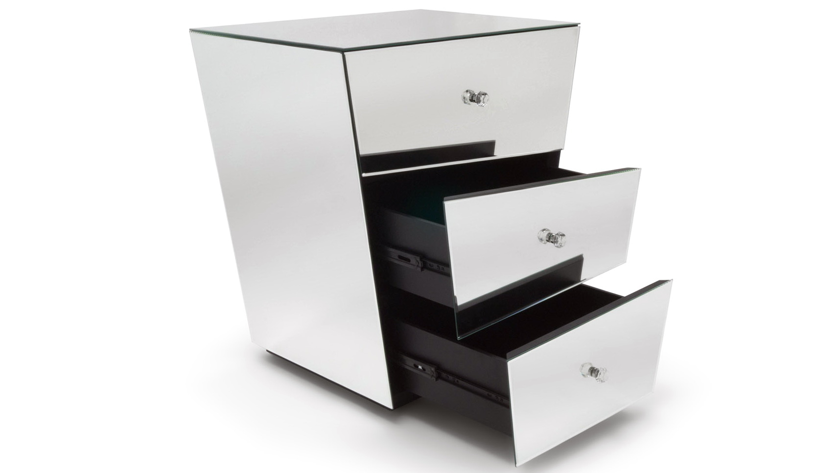 Mirrored 3 Drawer Nightstand
