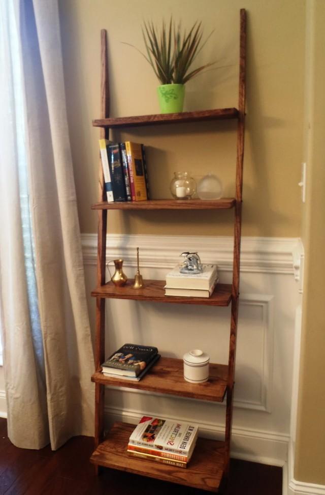 Oak Ladder Shelf Bookcase