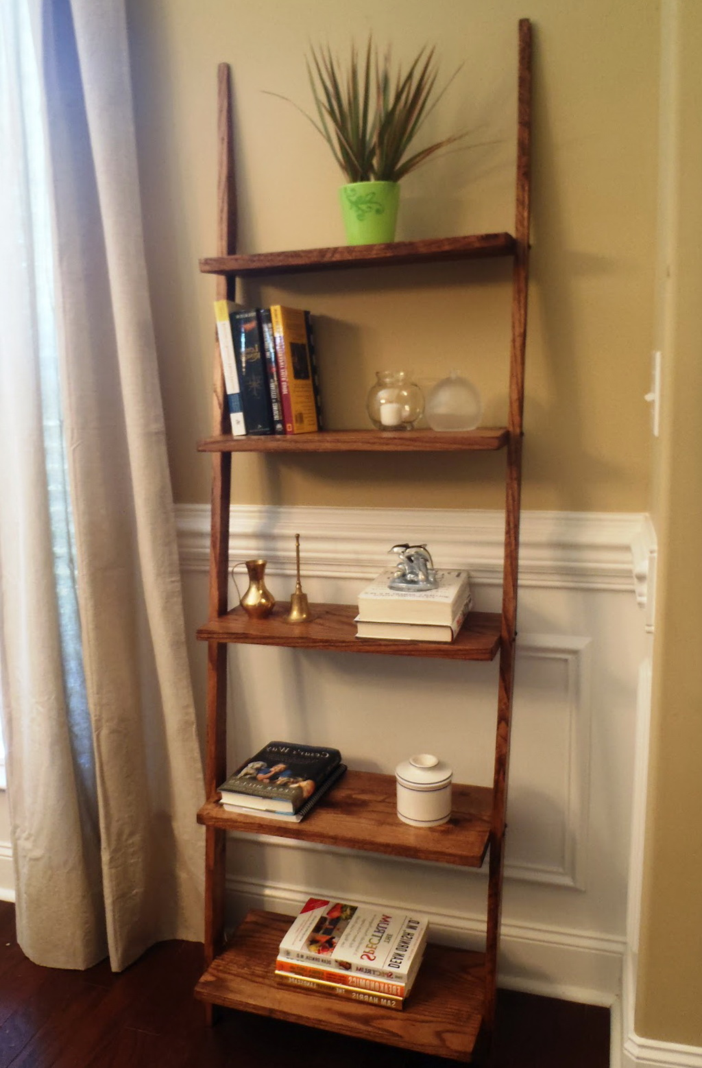 Oak Ladder Shelf Bookcase