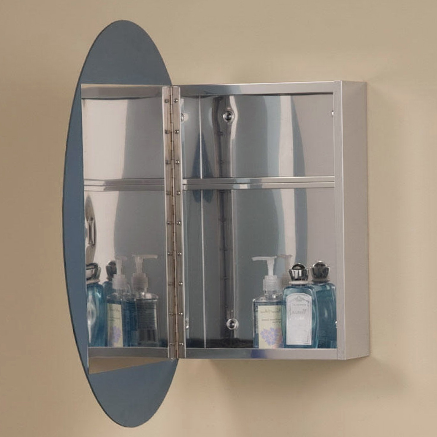 Oval Mirrored Medicine Cabinet