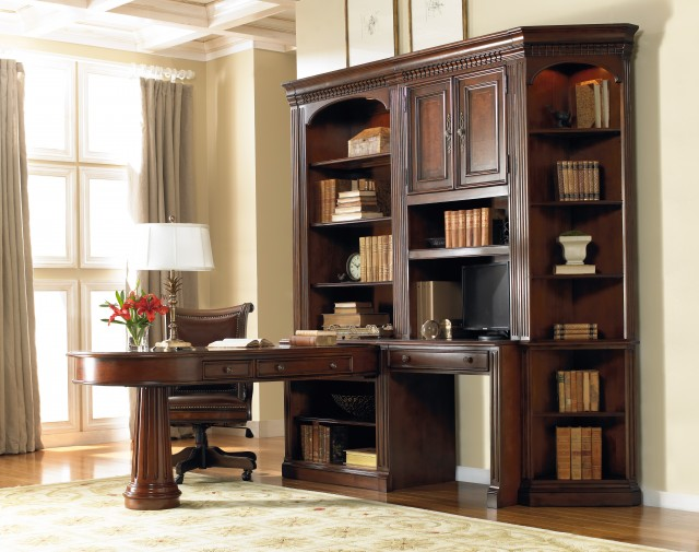 Peninsula Desk With Bookcase
