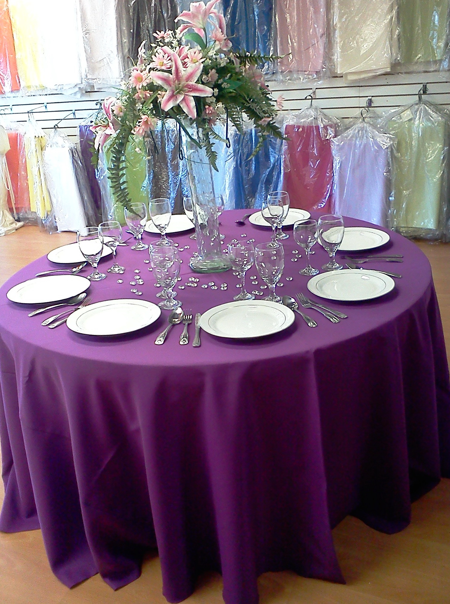 Purple Wedding Table Linens