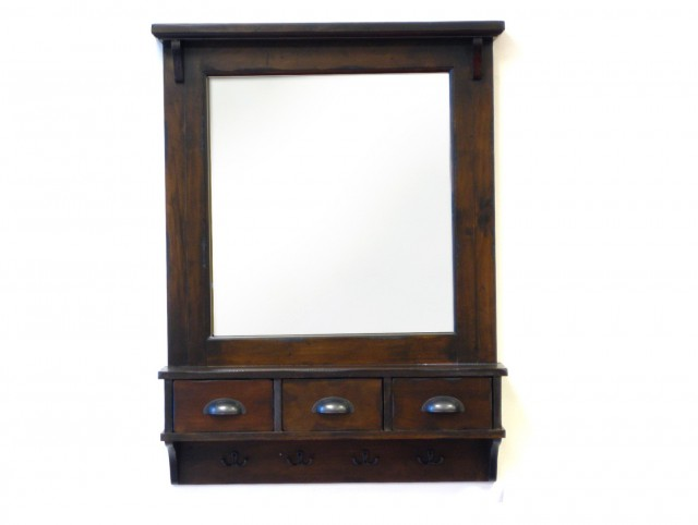 Wall Mirror With Shelf And Drawer