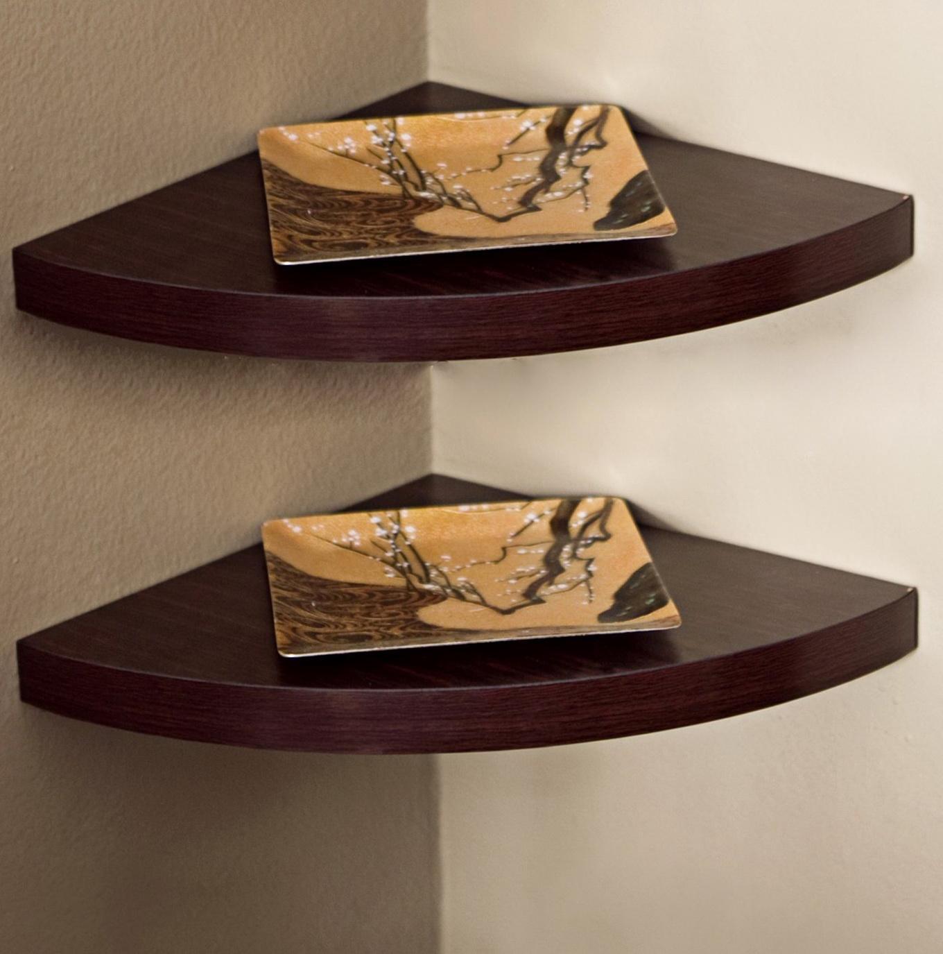 Wall Mounted Corner Shelves Wood