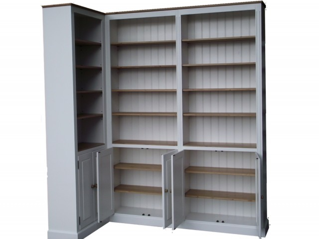 White Corner Bookcase With Doors