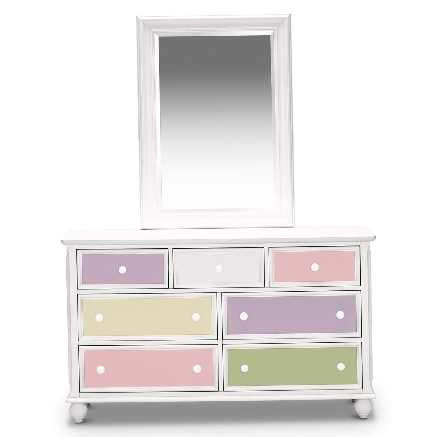 White Kids Dresser With Mirror