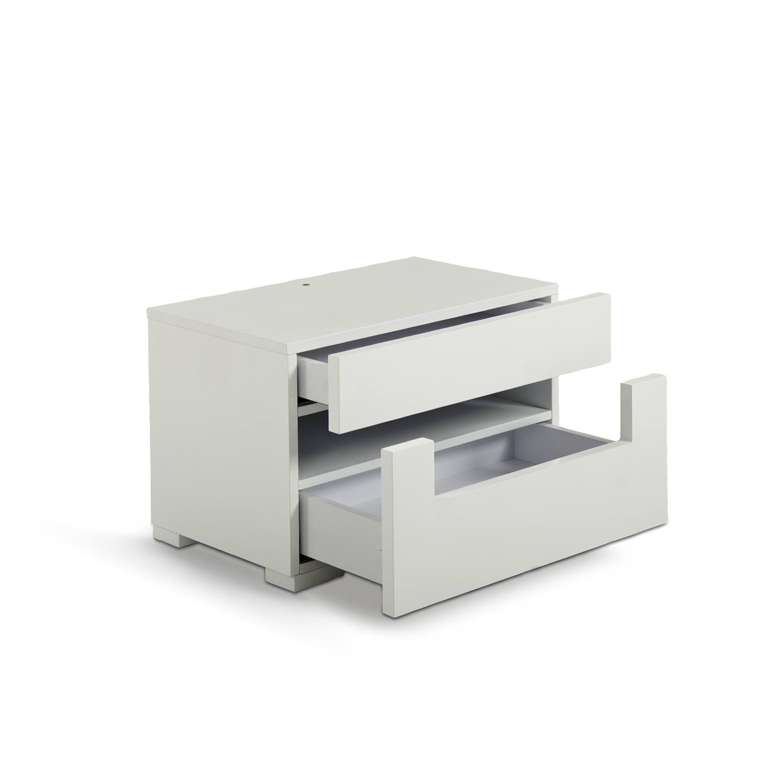 White Lacquer Nightstand Contemporary