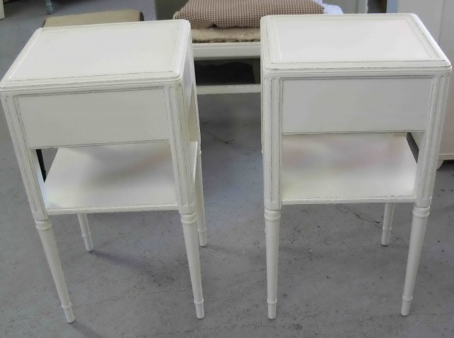White Marble Top Nightstand