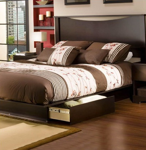 Full Platform Bed Frame With Headboard