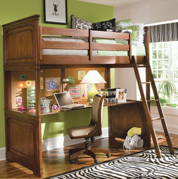Full Size Loft Bed With Desk For Adults