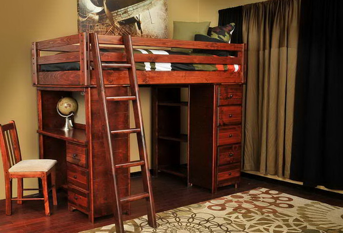 Full Size Loft Bed With Desk Underneath