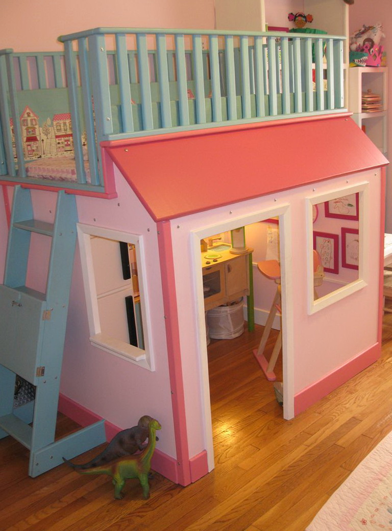 Girls Loft Bed With Playhouse